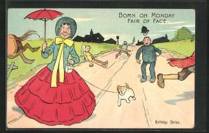 AK Polizei, Frau geht mit Hund spazieren und alle flüchten, Born on Monday Fair of Face