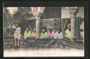 AK arabischer Handwerker, Kinder mit Teppichen, Ecole de Tapis Arabes