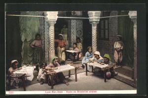 AK arabischer Handwerker, Kinder beim Sticken, Luce Ben-Aben, Ecole de Broderies arabes