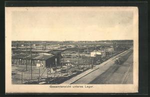 AK Sprottau, Kriegsgefangene, Gesamtansicht unteres Lager mit Baracken, Allied POW Camp