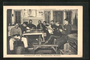 AK Sprottau, Kriegsgefangene in einer französischen Baracke, Allied POW Camp
