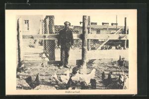 AK Sprottau, Kriegsgefangene, Hühnerhof, Allied POW Camp