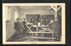 AK Sprottau, Kriegsgefangene in Schule, Allied POW Camp