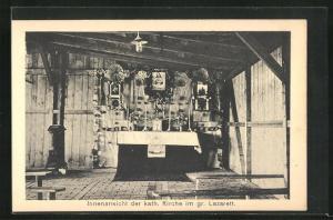 AK Sprottau, Kriegsgefangene, Innenansicht der kath. Kirche im gr. Lazarett, Allied POW Camp