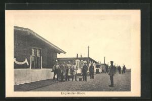 AK Sprottau, Kriegsgefangene vor Engländer-Block, Allied POW Camp