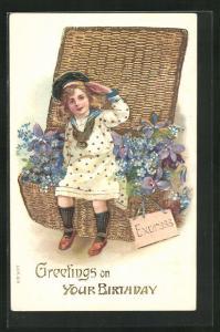 Präge-AK Geburtstagsgruss mit Korb voller Blumen