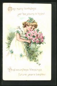 Präge-AK Geburtstagskind mit einem Strauss Rosen