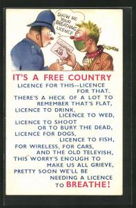 Künstler-AK It's a free Country, Licence fpr Life, Polizist fordert eine Atmungserlaubnis