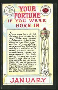 Künstler-AK Your Fortune, Geburtsmonat Januar, Feuersäule