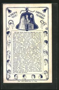AK Whom should you marry, Geburtsmonat März / March, Herren- und Dameportraits, Brautpaar in einer Glocke