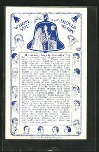 AK Whom should you marry, Geburtsmonat Dezember, Herren- und Dameportraits, Brautpaar in einer Glocke