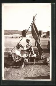 AK Le Coiffeur sous la Tente, arabischer Friseur bei der Arbeit