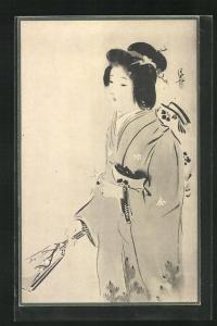 AK Schöne Geisha mit Fächer