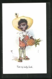 Künstler-AK For my Lady Lub, afrikanischer Bube mit einer Ananas