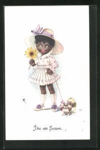 Künstler-AK Dis am Susan, bezauberndes afrikanisches Mädchen im Kleid mit Hund