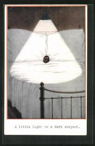 Künstler-AK A little light on a dark subject, Lampe scheint auf einen afrikansichen Jungen im Bett