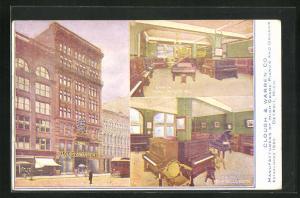 AK Detroit, MI, Clough & Warren Co., Innenansichten mit Flügel und Klavier