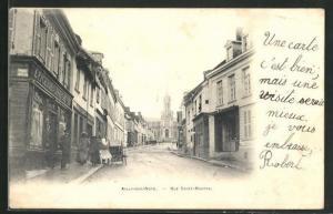 AK Ailly-sur-Noye, Rue Saint-Martin, Geschäfte und Blick auf Kirche