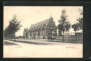 AK Tournai, L`entrepot, Blick auf prächtiges Haus