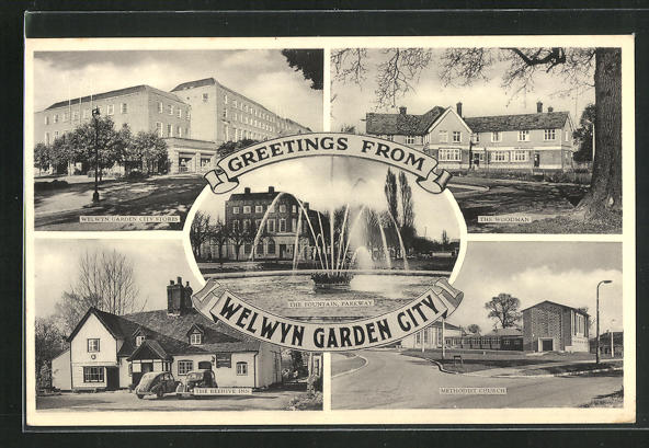 AK Welwyn Garden City, Stores, The Woodman, The Beehive Inn & Methodist Church 0