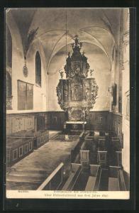 AK Soldin / Mysliborz, Innenansicht der Domkirche, Altar Holzschnitzerei