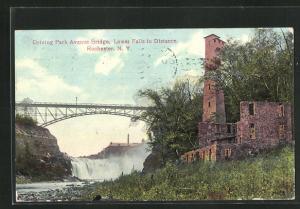 AK Rochester, NY, Driving Park Avenue Bridge, Lower Falls in Distance