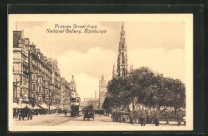 AK Edinburgh, Princes Street from National Gallery, Strassenbahn, Kirchturm