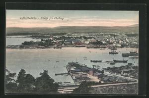 AK Oslo, Ortsansicht von Ekeberg aus auf Hafeneinfahrt mit Häusern und Schiffen