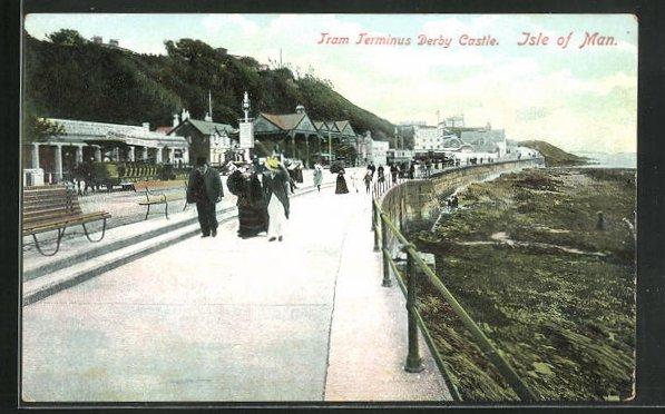 AK Isle of Man, Tram Terminus Derby Castle mit Reisenden 0