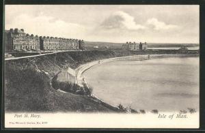 AK Port Saint Mary, Blick auf Uferbogen mit Häuser