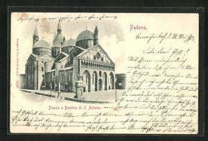 AK Padova, Piazza e Basilica di S. Antonio, Reiterdenkmal