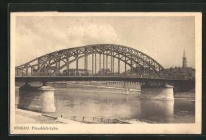 AK Krakau-Krakow, Pilsudskibrücke mit Fluss