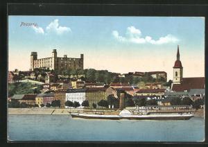AK Pozsony, Blick von Wasser mit Dampfer Elisabeth auf Burg
