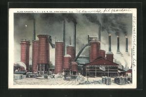 AK Birmingham, AL, Alice Furnace, T. C. I. & R. R. Co., Fabrik mit rauchenenden Schornsteinen
