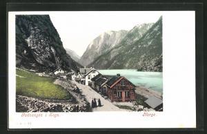 AK Gudvangen, Blick auf Häuser am Fjord mit Bergen