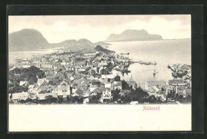 AK Aalesund, Totalansicht mit Häusern, Fjord und Bergen