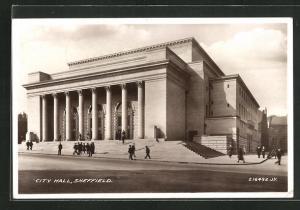 AK Sheffield, City Hall mit Freitreppe