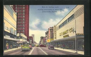 AK Jacksonville, FL, Main street looking south, showing intersection at Adams Street
