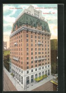 Lithographie Baltimore, MD, Gebäudeansicht vom Hotel Emerson