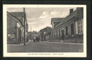 AK Talsen / Kurland, Ortspartie mit Gebäudeansicht