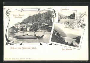 AK Achenkirch, Franz Meyer's Gasthaus, Dependence und Blick auf den Achensee