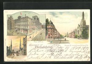 Lithographie Philadelphia, PA, Broad St. north of City Hall, Post Office, Broad St. north from Oxford St.