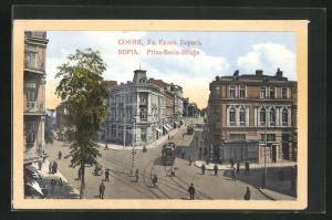 AK Sofia, Prinz-Borsi-Strasse mit Strassenbahnen