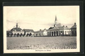 AK Mitau, Marktplatz mit Rathaus