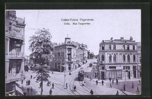 AK Sofia, Rue Targovska mit Strassenbahnen