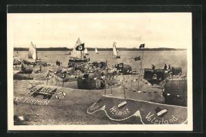AK Eckernförde, Sandburgen mit flaggen am Strand