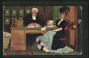 Künstler-AK Dame sitzt am Schreibtisch einers Anwalts