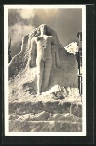 Foto-AK Segantinidenkmal, Schneefigur, Eisplastik