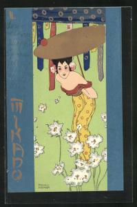 Künstler-AK Raphael Kirchner: Mikado, Schöne Geisha in schulterfreiem Kleid mit Schirm