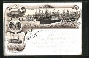 Vorläufer-Lithographie Hamburg, 1894, Blick auf Hafen, Seemannshaus, Dampfer Auguste Victoria